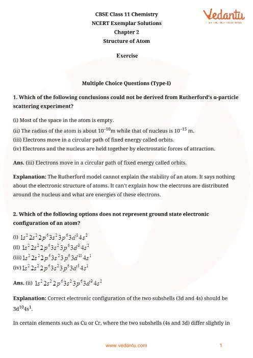 NCERT Exemplar Class 11 Chemistry Chapter-2 part-1