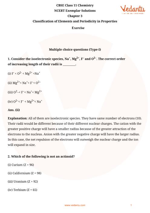 NCERT Exemplar Class 11 Chemistry Chapter-3 part-1