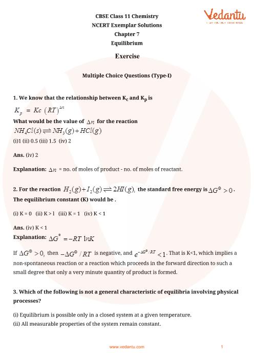 NCERT Exemplar Class 11 Chemistry Chapter-7 part-1