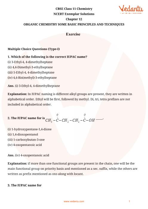 NCERT Exemplar Class 11 Chemistry Chapter-12 part-1