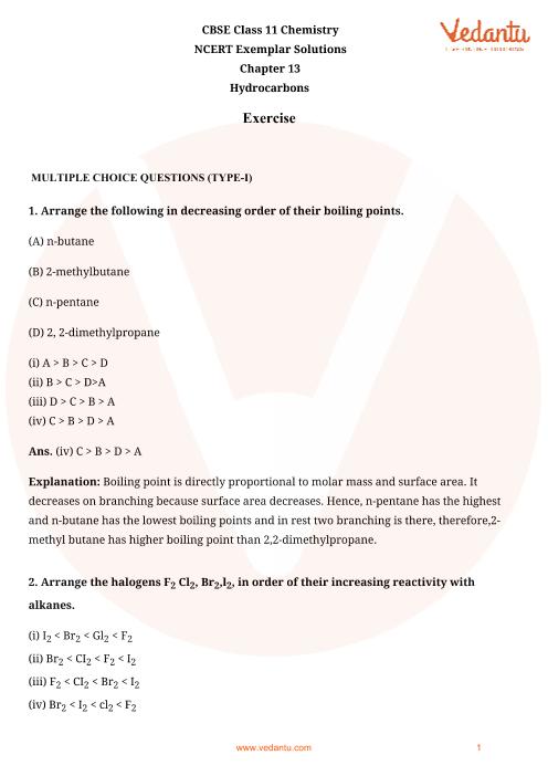 NCERT Exemplar Class 11 Chemistry Chapter-13 part-1