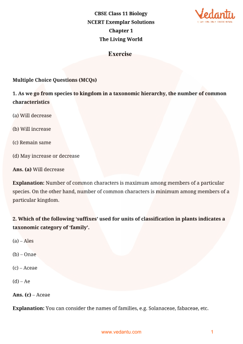 NCERT Exemplar Class 11 Biology Chapter-1 part-1