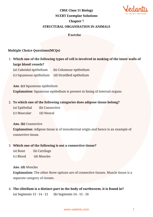 NCERT Exemplar Class 11 Biology Chapter-7 part-1