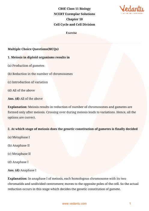 NCERT Exemplar Class 11 Biology Chapter-10 part-1