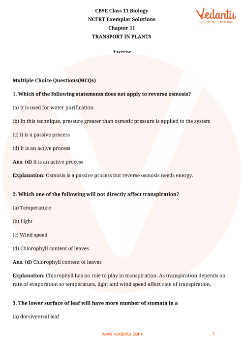 NCERT Exemplar Class 11 Biology Chapter-11 part-1
