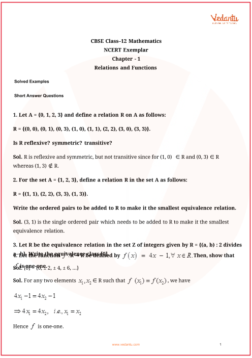 NCERT Exemplar Class 12 Maths Chapter-1 part-1