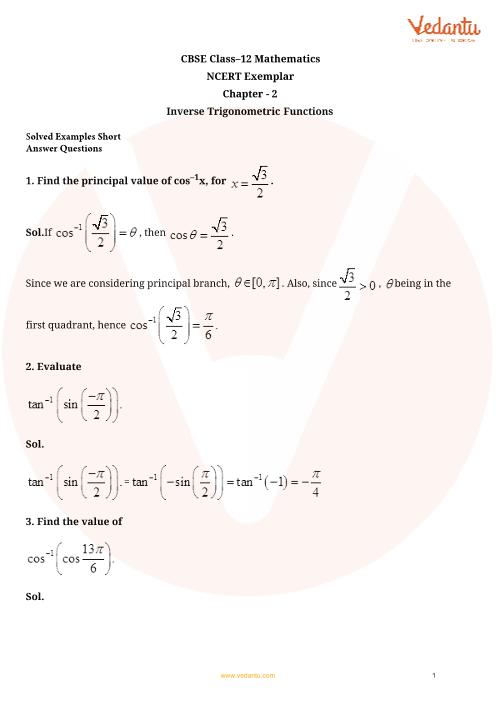NCERT Exemplar Class 12 Maths Chapter-2 part-1