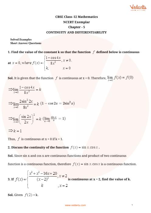 NCERT Exemplar Class 12 Maths Chapter-5 part-1