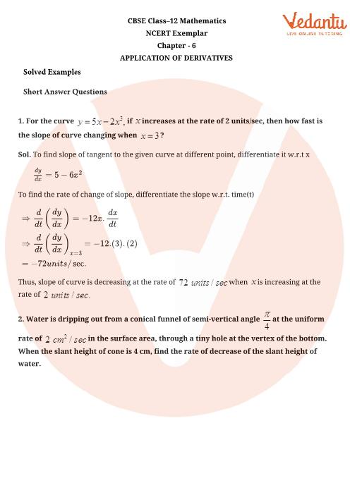NCERT Exemplar Class 12 Maths Chapter-6 part-1