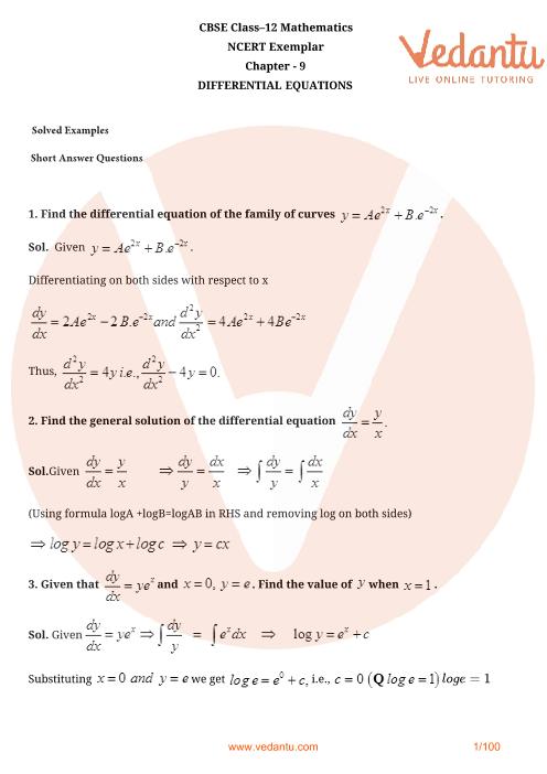 NCERT Exemplar Class 12 Maths Chapter-9 part-1