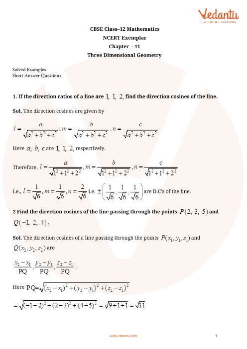 NCERT Exemplar Class 12 Maths Chapter-11 part-1