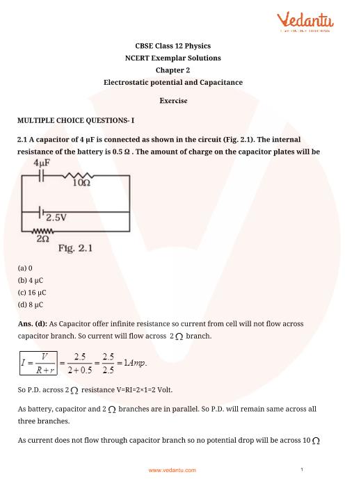 NCERT Exemplar Class 12 Physics chapter-2 part-1
