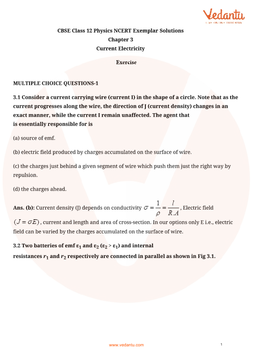 NCERT Exemplar Class 12 Physics chapter-3 part-1