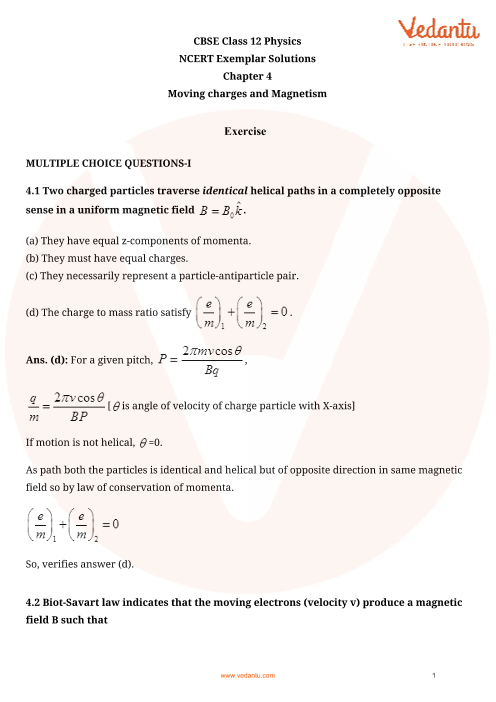 NCERT Exemplar Class 12 Physics chapter-4 part-1