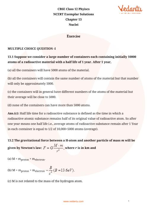 NCERT Exemplar Class 12 Physics chapter-13 part-1