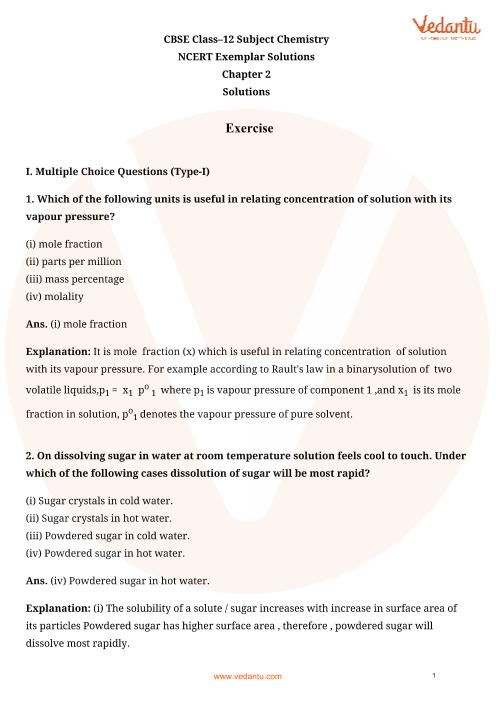 NCERT Exemplar for Class 12 Chemistry Chapter-2 part-1