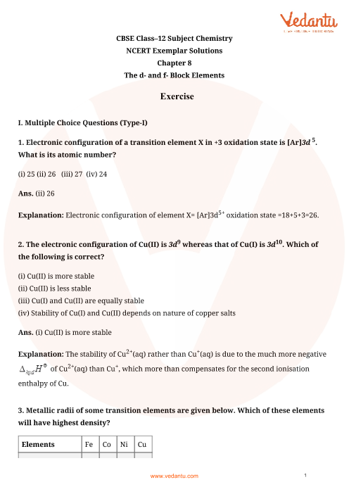 NCERT Exemplar for Class 12 Chemistry Chapter-8 part-1