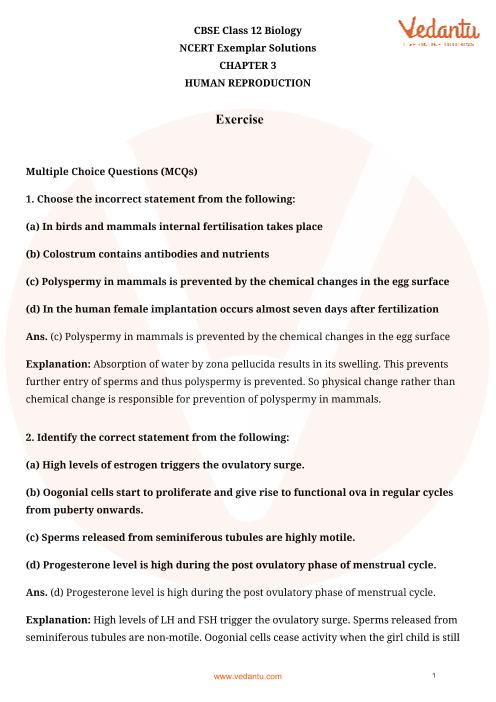 NCERT Exemplar for Class 12 Biology Chapter-3 part-1