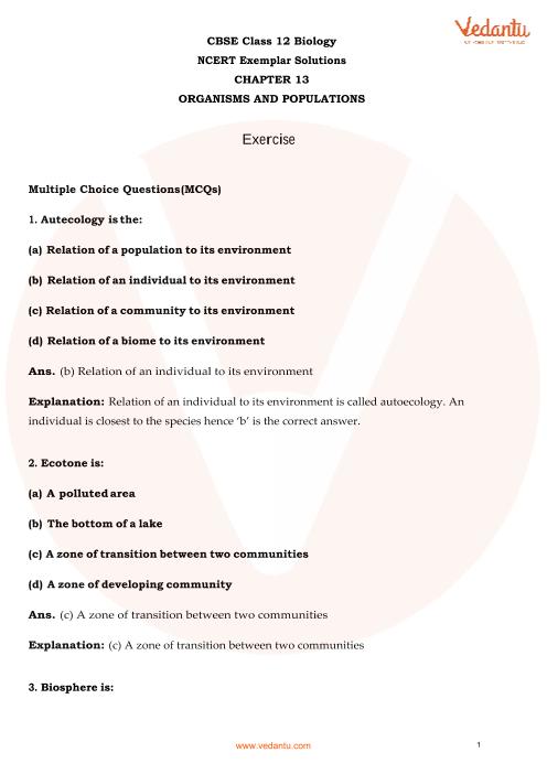 NCERT Exemplar for Class 12 Biology Chapter-13 part-1
