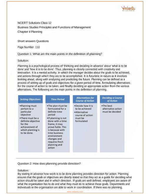 NCERT Solutions Class 12 Business Studies Chapter 4 part-1