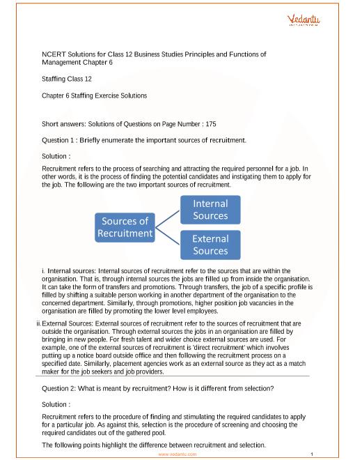 NCERT Solutions Class 12 Business Studies Chapter 6 part-1