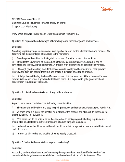 NCERT Solutions Class 12 Business Studies Chapter 11 part-1