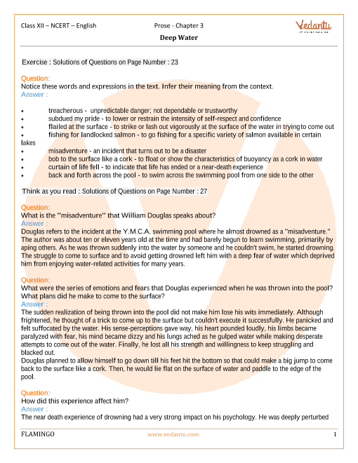 NCERT Solutions for Class 12 English Flamingo Chapter-3 part-1