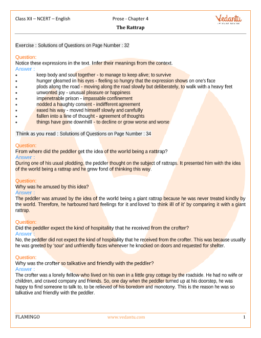 NCERT Solutions for Class 12 English Flamingo Chapter-4 part-1