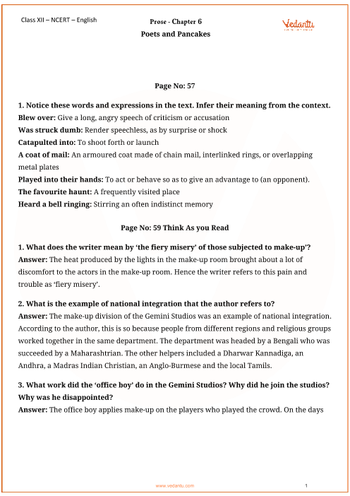 NCERT Solutions for Class 12 English Flamingo Chapter-6 part-1
