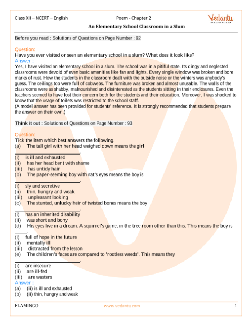 NCERT Solutions for Class 12 English Flamingo Chapter-2 Poem 2 part-1