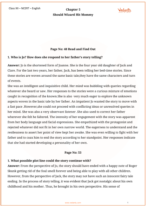 NCERT Solutions for Class 12 English Vistas Chapter-5 part-1