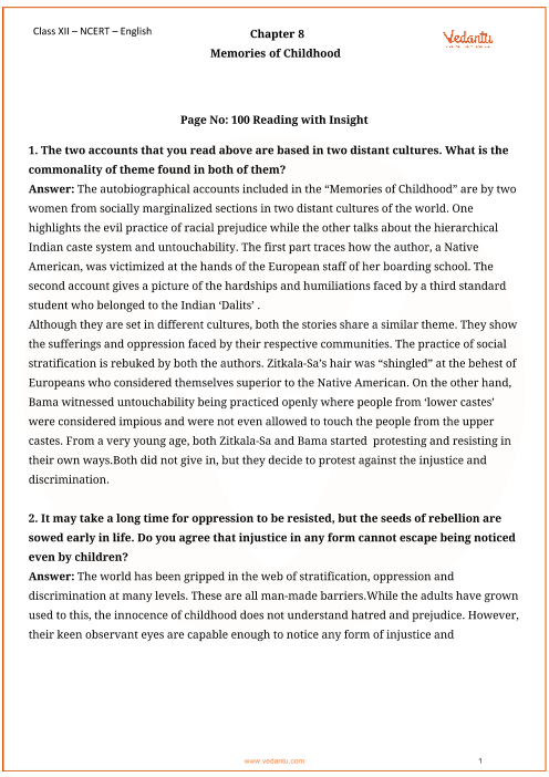 NCERT Solutions for Class 12 English Vistas Chapter-8 part-1