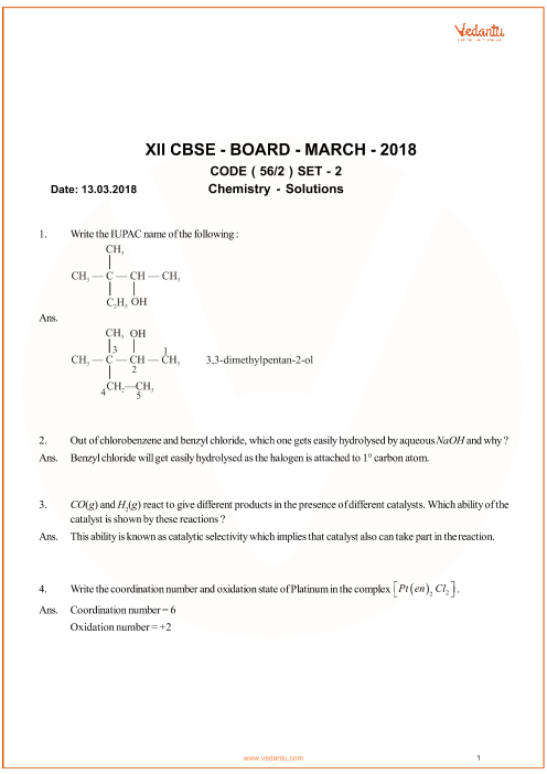 CBSE Class 12 Chemistry QP with Solutions part-1