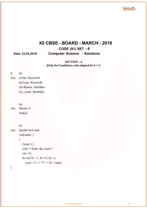 CBSE Class 12 Computer Science QP with Solutions part-1