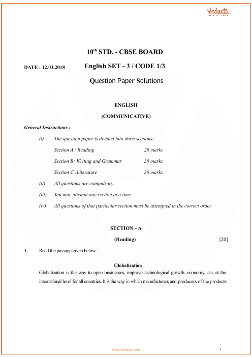 CBSE Class 10 English Communicative QP with Solutions part-1