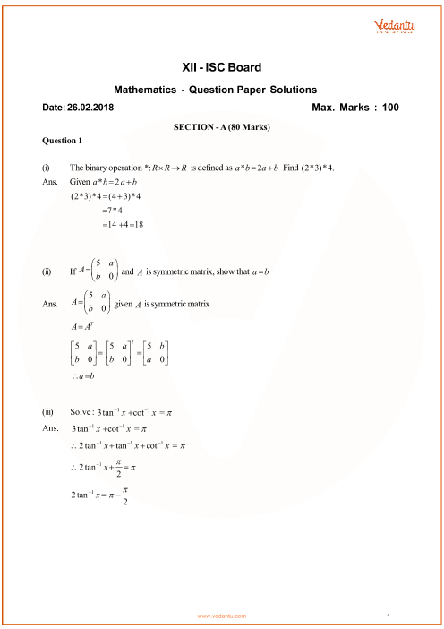 ISC Question Paper for Class 12 Maths 2018 part-1