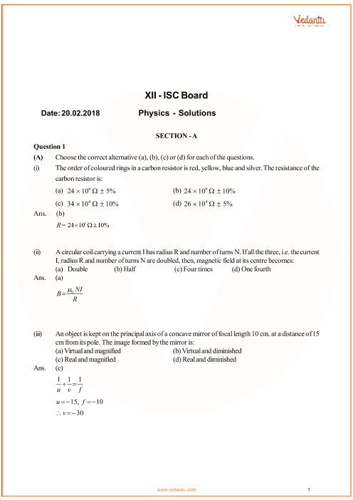ISC Question Paper for Class 12 Physics 2018 part-1