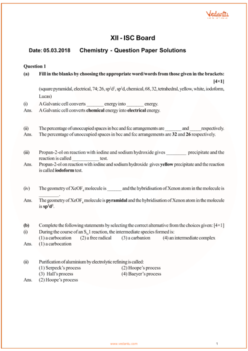 ISC Question Paper for Class 12 Chemistry 2018 part-1