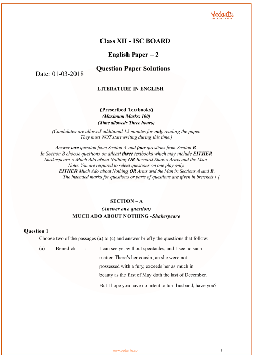 ISC Question Paper for Class 12 Literature in English 2018 part-1