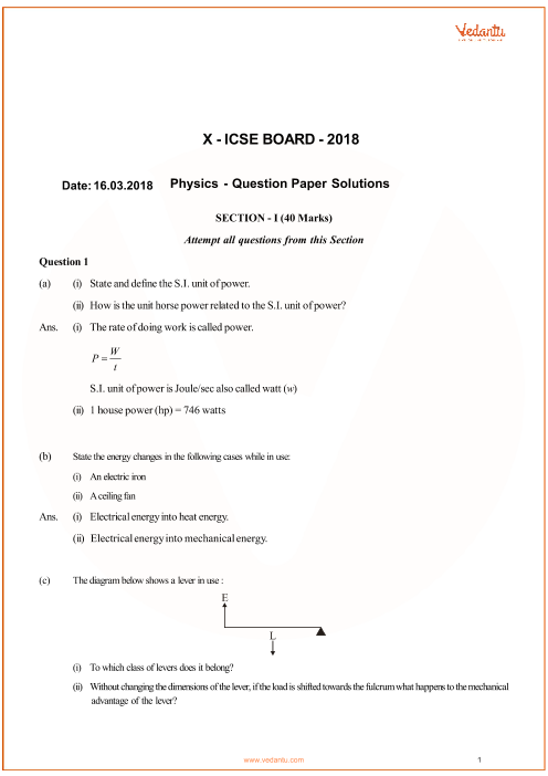 ICSE Question Paper for Class 10 Physics 2018 part-1