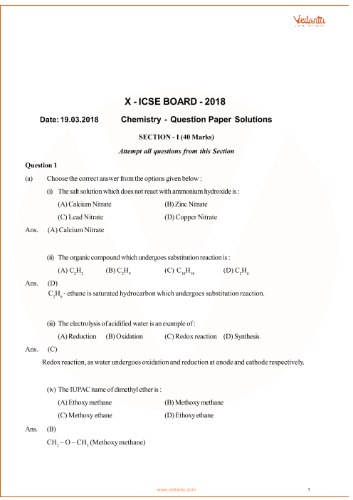 ICSE Question Paper for Class 10 Chemistry 2018 part-1