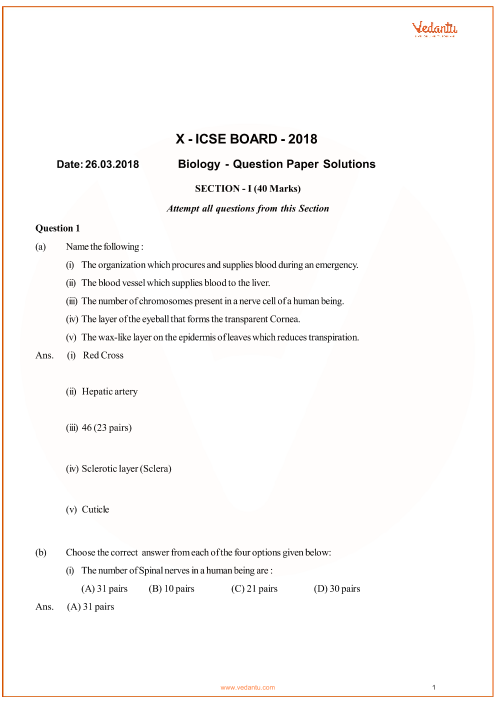 ICSE Question Paper for Class 10 Biology 2018 part-1