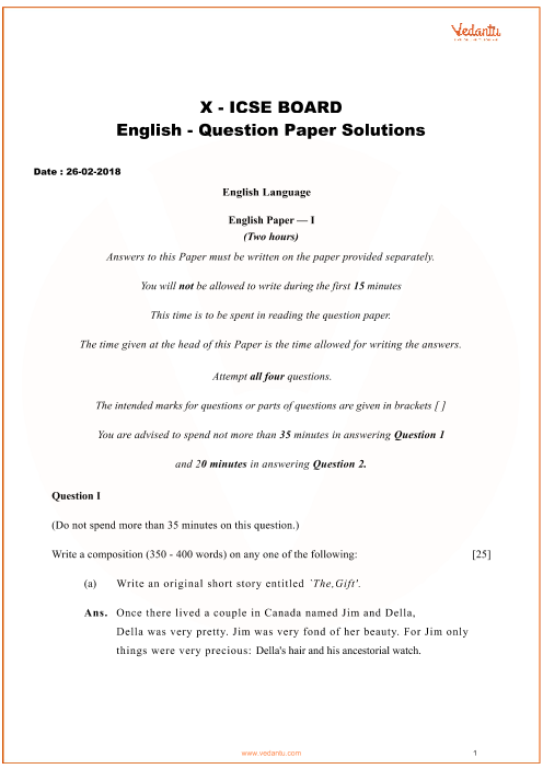 ICSE Question Paper for Class 10 English 2018 part-1