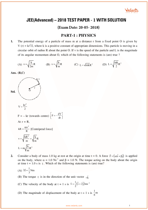 Jee-advanced-2018-Paper-1-With-Solutions-Physics part-1