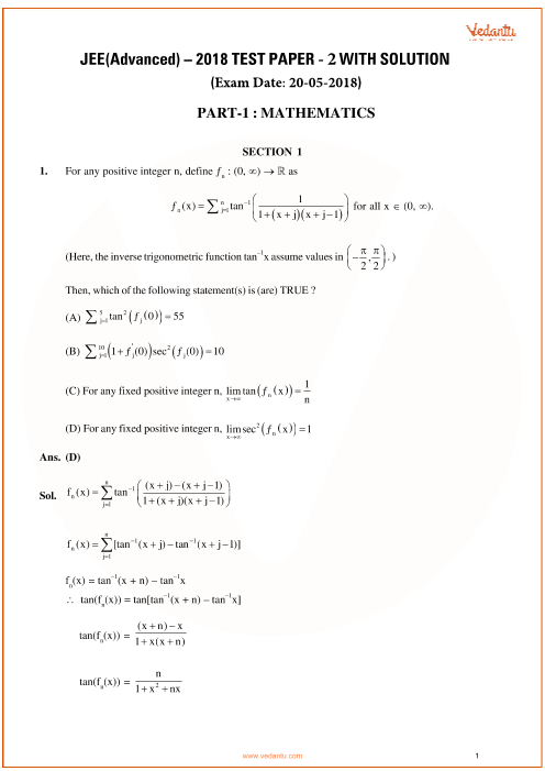 Jee-advanced-2018-Paper-2-With-Solutions-Mathematics  part-1