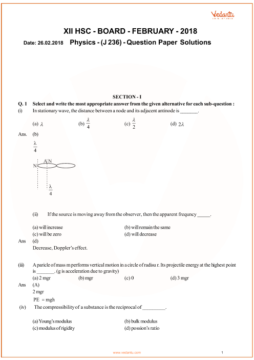 Maharashtra HSC QP Class 12 Physics part-1