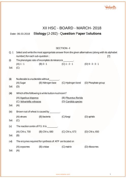 Maharashtra HSC QP Class 12 Biology part-1