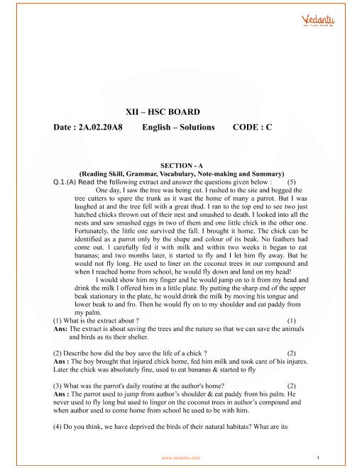 Maharashtra HSC QP Class 12 English Code-c part-1