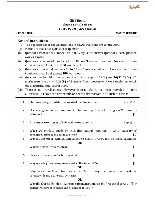 Previous year social science question paper for cbse class 10 2018 cbse class 10 social science qp with solutions part 1 malvernweather Images