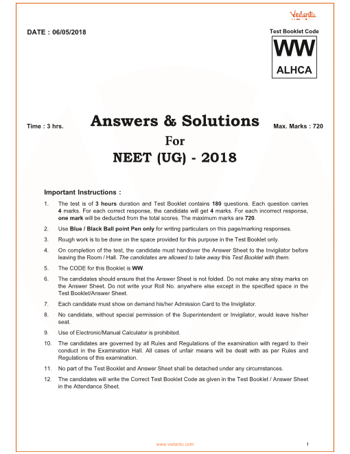 NEET 2018 QP with Solutions Code-ww part-1